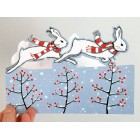 'Christmas Hares' - (pack of 8 cards) *NEW*