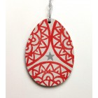 Wooden Decoration - Red Oval (only one left) *SALE*
