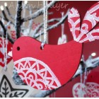 Wooden Decoration - Red Bird (out of stock, message to order)