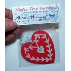 Wooden Decoration - Red Heart (out of stock, message to order)