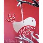 Wooden Decoration - White Bird (out of stock, message to order)