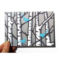 'Silver Birches' greetings card (blue)
