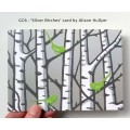 'Silver Birches' greetings card (green)