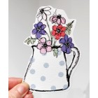 Pottery Jug of Anemones - gift tag