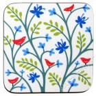 Coaster - Birds and Leaves (white) SOLD OUT