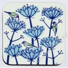 Coaster - Goldfinches and Seed Heads (blue)