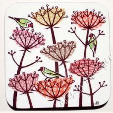 Coaster - Goldfinches and Seed Heads (brown)