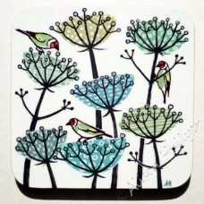 Coaster - Goldfinches and Seed Heads (green)