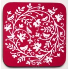 Coaster - Bird Circle 4 (burgundy background) *SALE*