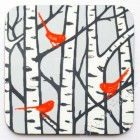 Coaster - Silver Birch Trees (bright orange birds) - sold out, please message to order
