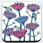 Coaster - Goldfinches and Seed Heads (plums)