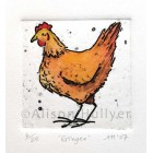 Collograph Print - Ginger Chicken