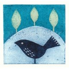 Collograph Print - Indigo Bird (message to order)