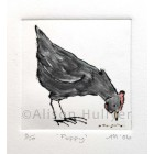 Drypoint Print - Poppy Chicken (black) - SOLD