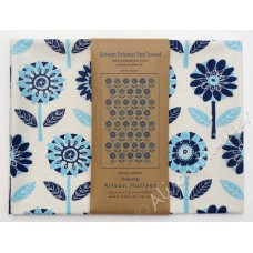 Flower Garden (navy & aqua) on cream