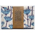 Goldfinches Tea Towel - navy and turquoise