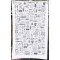 Baking Tea Towel - black and cream
