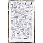 Baking Tea Towel - black and white NEW