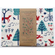 Woodland Tea towel (red & jade) on cream - sorry sold out