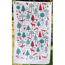 Woodland Tea Towel (red & jade) on white