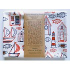 Boats & Beach Hut Tea Towel - cream