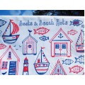 Boats & Beach Hut Tea Towel - white