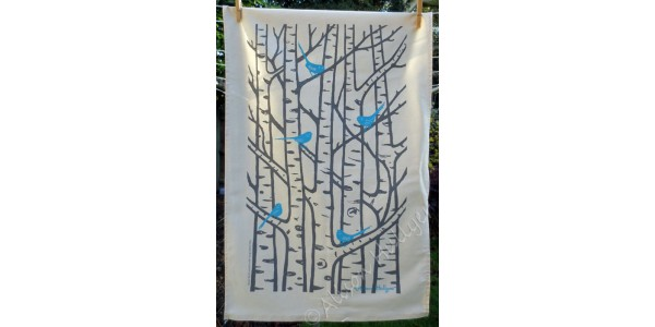 Silver Birch Tea Towel - Blue and Grey