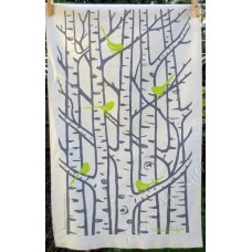 Silver Birch Tea Towel - Green and Grey